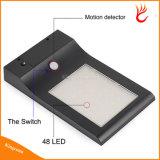 48 LED del sensor de movimiento solar impermeable LED luz accionada solar de la lámpara Luces del panel de pared exterior Luz