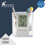 현대 작풍 승진을%s 투명한 디지털 경보 Penholder 시계