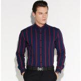 Homens Formal de manga comprida Pin Cole Camisa listrada de algodão