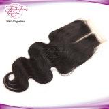 8A corps péruvien ondulé naturel dentelle fermeture cheveux humains