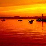 Заход солнца на картине маслом моря UV напечатанной для домашнего украшения