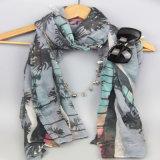 女性のファッション小物のばねのショールのためのデジタル印刷のココヤシの木の編まれたスカーフ