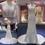 Vestido nupcial nupcial Mat-121 do vestido de casamento da sereia do cetim do laço da forma