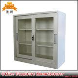 Gabinete do armário do arquivamento do metal da mobília de escritório da porta de vidro de deslizamento dois