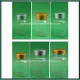 Animale domestico Clear Rectangular Medicine Bottle con Gold/Silver Metal Cap