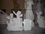 Frère et soeur Westernstone sculpté de sculpture en marbre d'enfants Sculpture Jardin Chinois Sculpturefor sculptés à la main