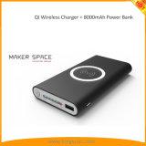 Qi Banco de energia sem fio 8000mAh carregador portátil USB Tipo C