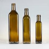 Dunkelgrüne und Brown-quadratische Glasflasche für Olivenöl