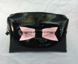 PVC brillant Fashion Bow Sac cosmétique, sacs à maquillage de couleur noire