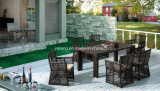 高品質の屋外の庭の長方形表(YT605)が付いている椅子を食事する大きいサイズの長方形のPE藤