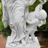 Große Qualitätsweiße Marmordame-und -kind-Abbildung Statue-Skulptur