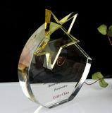 高品質の光学星のクリスタルグラスの盾のトロフィ賞