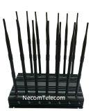 Desktop Bandas 14 Lojack Jammer com Carregador Veicular, Telemóvel Jammer para 3G, 4glte celular, GPS, Lojack Jammer/UPS