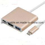 3 en 1 USB 3.1 tipo C a 4K HDMI USB 3.0 HUB adaptador tipo C