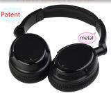 Auscultadores sem fio estereofónico preto dos auriculares de Bluetooth V4.0 do telefone móvel
