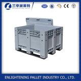 caixa de pálete plástica contínua do grande armazenamento de 1200*1000*760mm com rodas