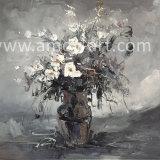 Paletten-Messer-Blumen-Ölgemälde-Schwarzweiss-Kunst