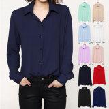 Горячая продажа женщин рубашки блузки длинной втулки дамы шифон блуза возглавляет Управление Ol стиле футболка