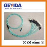 24 Feminino de MPO-St Om3 patch cord de fibra
