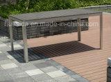 6 мест из тикового дерева, поверхность стола из нержавеющей стали для использования вне помещений в таблице