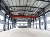 Edificio de la fábrica/del taller del marco de la estructura de acero con la grúa adentro