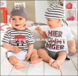 Новые поступления малыша мальчиков полосатый 3PCS одежды (Red Hat+ФУТБОЛКА+брюки)