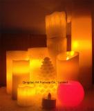 De gele Lichte Echte LEIDENE Zonder vlammen van de Was Kaars van de Pijler voor de Waaier van Kerstmis