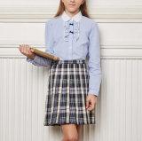 Longues chemises de dessus de lycée de chemise d'école de coton fait sur commande de filles