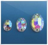 Forma de óvalo de coser a mano abalorios de cristal para accesorios de prendas de vestir