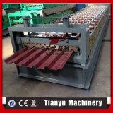 Hoja de acero acanalada de aluminio galvanizada material para techos del metal que hace la máquina