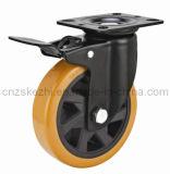 Mh4 Med-Heavy Tipo de freio do rolamento de esfera dupla do Rodízio de Roda de poliuretano preto