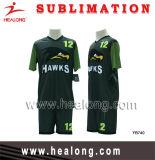 Fútbol modificado para requisitos particulares verde de la sublimación completa y negro real del diseño fijado (balompié fijado)