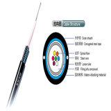 6 Core Outdoor Central Tube Cabo de fibra óptica com fio de aço paralelo para comunicações