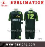 Healongの完全な昇華セットされる高貴な緑および黒いカスタマイズされたデザインサッカー(セットされるフットボール)