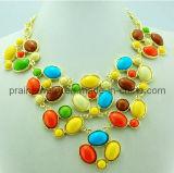 La primavera de Bisutería, rojo amarillo verde azul ajustable Collar chapado en cadenas de oro por parte de la resina de regalo