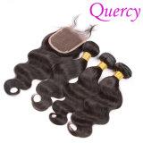 卸売の100%年のバージンのRemyのカンボジアの毛絹の上ボディ波の閉鎖(CL-018)
