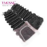 Yvonne-tiefe Großhandelswellen-brasilianisches Haar 3 Bündel mit Schliessen