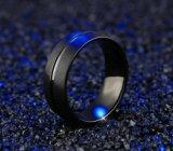 Anillo de dedo plateado negro de los hombres del acero inoxidable de la alta calidad