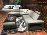 Secional em forma de u sofá de couro de canto moderno do sofá da sala de visitas do grande