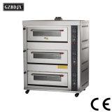 Equipamentos de cozedura de luxo Deck pizza do forno a gás para a padaria decks com 3 bandejas 6