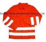 Uja009poli/de tecido de algodão cubra pano reflexivo Parka Casaco Worksuit Raincoat