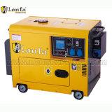 5kw de draagbare Zelf Beginnende Elektrische Diesel van het Begin Stille Generator van de Macht met Wielen