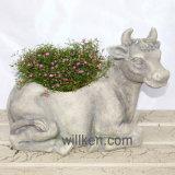 Flowerpot di giardinaggio domestico di rivestimento del granito di disegno della mucca di DIY