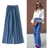 Pedidos de Japão às calças frouxas ocasionais do estilo clássico elevado da cintura de calças de brim da sarja de Nimes