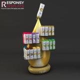 L'étalage créateur de shampooing de produit de soins capillaires de forme avec de l'acrylique rayonnent