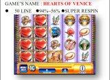 Harten van Venetië-50 lijn-Super Respin Het Gokken van de Machine van het Spel van de Machine van het Spel van de groef Muntstuk In werking gestelde Machine