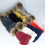 侵入の子供の子供の男の子レディース男女兼用の女の子のTamiによって編まれるのどの毛皮POM POMは暖める冬の帽子のSkulliesの帽子の帽子(HW608)を