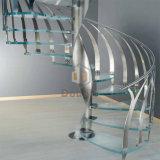 Diseño simple para la escalera espiral de interior con los pasos de progresión de cristal