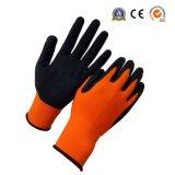 Hoog Zichtbaar Oranje Nylon met de Zandige Nitril Met een laag bedekte Handschoen van het Werk