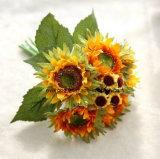 Girasole falso di seta basso dei fiori artificiali di Quanlity dell'alta di Mano-Sensibilità del girasole dei mazzi decorazione di seta di festival